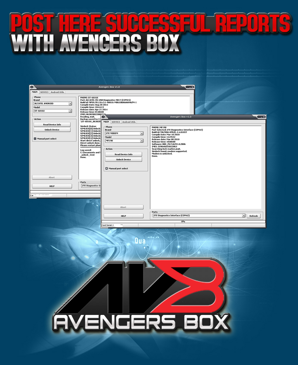Post Here Successful Reports With Avengers Avengers Box/Dongle
